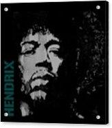 Jimi Hendrix - Retro Black  Acrylic Print