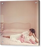 Joan Collins Relaxes Acrylic Print