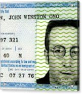 John Lennon Immigration Green Card 1976 Acrylic Print