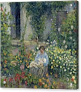 Julie And Ludovic-rodolphe Pissarro Among The Flowers, 1879 Acrylic Print