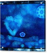 Kaleidoscope Moon For Children Gone Too Soon Number - 4 Cerulean Valentine  Acrylic Print