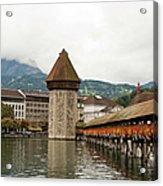 Kapellbrucke On Reuss River, Lucerne Acrylic Print