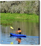 Kayaker In The Wild Acrylic Print