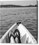 Kayaking In Black And White Acrylic Print