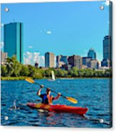 Kayaking On The Charles Acrylic Print