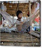 Keeping Cool In Cambodia Acrylic Print