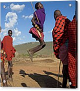 Kenya, Masai Mara, Masai Dancers Acrylic Print