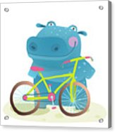 Kid Cute Hippo With Bicycle Childish Acrylic Print
