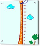 Kids Height Scale In Giraffe Vector Acrylic Print
