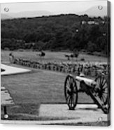 King William Artillery Marker In Black And White Gettysburg Acrylic Print