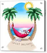 Kiniart Tropical Bichon Frise Acrylic Print