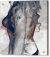 Koi No Yokan - Blue Rust - Erotic Drawing, Sexy Tattoo Girl In Thong Biting An Apple Acrylic Print