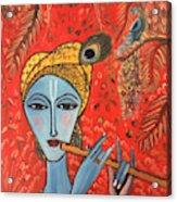 Krishna With Flute Acrylic Print