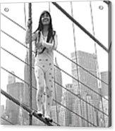 Kusama On The Brooklyn Bridge Acrylic Print