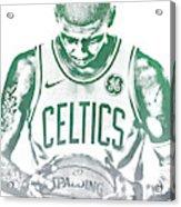 Kyrie Irving Boston Celtics Water Color Pixel Art 30 Acrylic Print