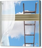 Ladder Against Window Pane Acrylic Print