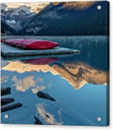 Lake Louise Canoes In Banff National Acrylic Print