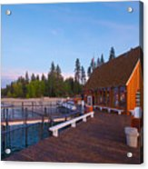 Lake Tahoe Cabin on the Lake Sunset Acrylic Print
