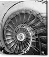 Lblack And White View Of Spiral Stairs Inside The Arch De Triump Acrylic Print