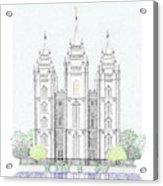 Lds Salt Lake Temple - Colorized Acrylic Print
