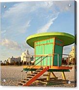 Lifeguard Station At Dawn, South Beach Acrylic Print