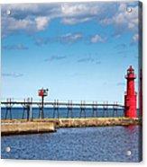 Lighthouse And Pier On Lake Michigan Acrylic Print