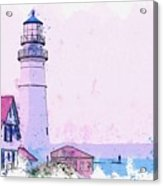 Lighthouse, Cape Elizabeth, United States -  Watercolor By Ahmet Asar Acrylic Print