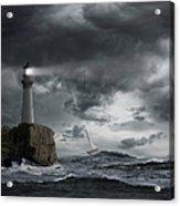 Lighthouse Shining Over Stormy Ocean Acrylic Print