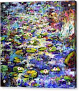 Lily  Pond Impressions Oil Painting Acrylic Print