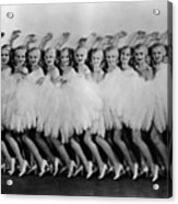 Line Of Chorus Girls In Feathered Acrylic Print