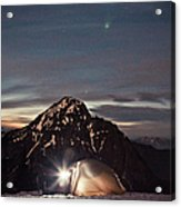 Lit Tent At Night Acrylic Print