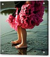 Little Girls Feet Splashing And Dancing Acrylic Print