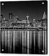 Liverpool Skyline In The Night Black And White Acrylic Print