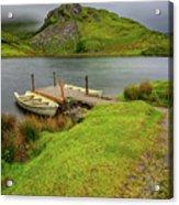 Llyn Y Dywarchen Boats Snowdonia Acrylic Print