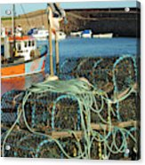lobster pots and trawlers at Dunbar harbour Acrylic Print
