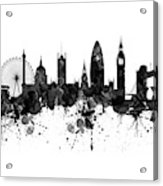 London Black And White Watercolor Skyline Silhouette Acrylic Print
