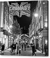 London Nightlife Carnaby Street London Uk United Kingdom Black And White Acrylic Print