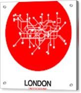 London Red Subway Map Acrylic Print