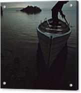 Lone Rower At Shore Acrylic Print