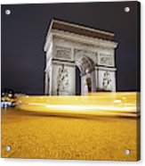 Long Exposure Picture Of Paris Arch De Triomphe At Night   Acrylic Print