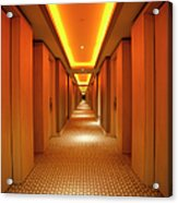 Long, Narrow Corridor With Retro Themed Acrylic Print