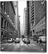 Looking Along The Lasalle Street Canyon Towards The Chicago Board Of Trade Building In The Financial Acrylic Print