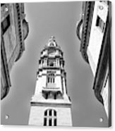 Looking Up - City Hall Court Yard In Black And White Acrylic Print