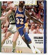 Los Angeles Lakers Magic Johnson And Boston Celtics Larry Sports Illustrated Cover Acrylic Print
