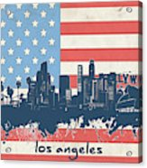Los Angeles Skyline Flag Acrylic Print