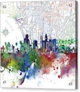 Los Angeles Skyline Map Watercolor 3 Acrylic Print
