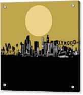 Los Angeles Skyline Minimalism Yellow Acrylic Print