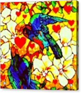 Love Birds In The Love Tree With Hibiscus Acrylic Print