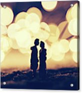 Loving Couple Standing In A Cozy Winter Scenery. Acrylic Print