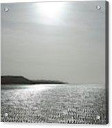 Low Tide Sandy Beach Ripples Silhouetted Against Sun Acrylic Print